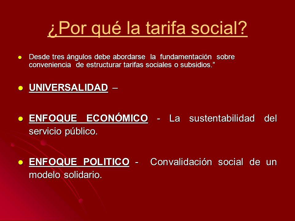 ¿Por qué la tarifa social? Desde tres ángulos debe abordarse la fundamentación sobre conveniencia de estructurar tarifas sociales o subsidios. Desde t