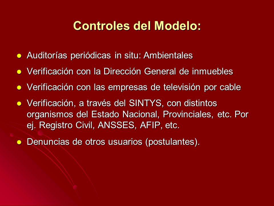 Controles del Modelo: Auditorías periódicas in situ: Ambientales Auditorías periódicas in situ: Ambientales Verificación con la Dirección General de i