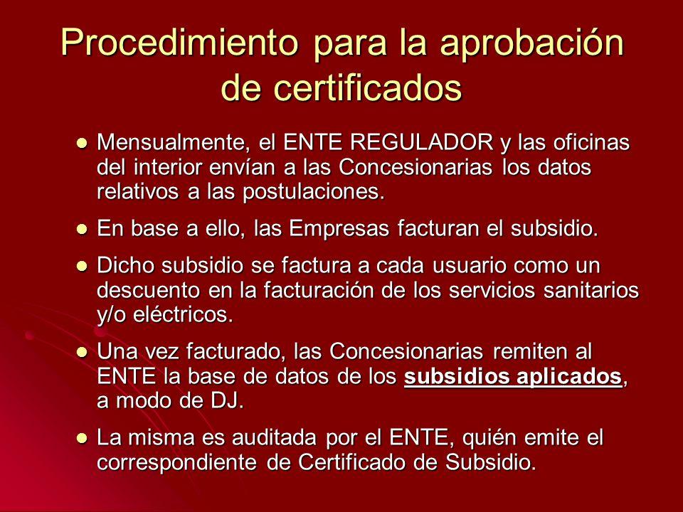 Procedimiento para la aprobación de certificados Mensualmente, el ENTE REGULADOR y las oficinas del interior envían a las Concesionarias los datos rel