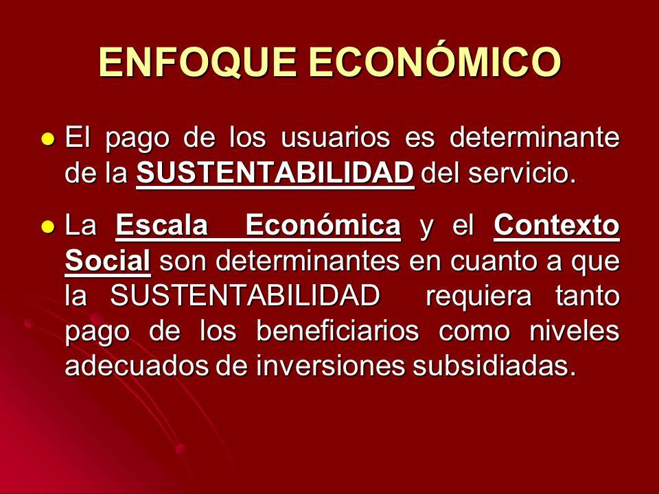 ENFOQUE ECONÓMICO El pago de los usuarios es determinante de la SUSTENTABILIDAD del servicio.