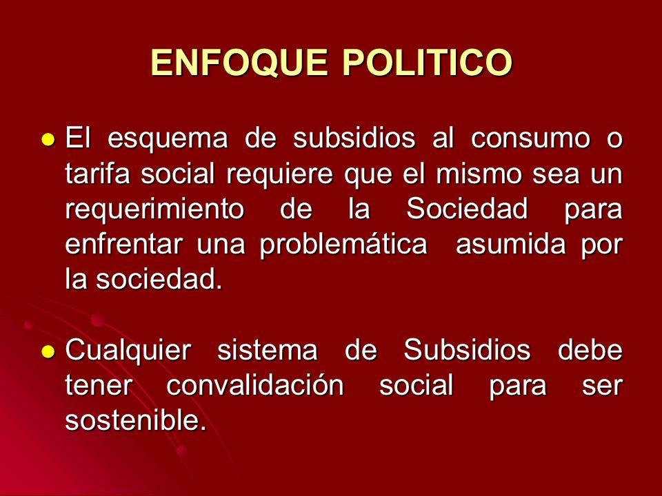 ENFOQUE POLITICO El esquema de subsidios al consumo o tarifa social requiere que el mismo sea un requerimiento de la Sociedad para enfrentar una problemática asumida por la sociedad.
