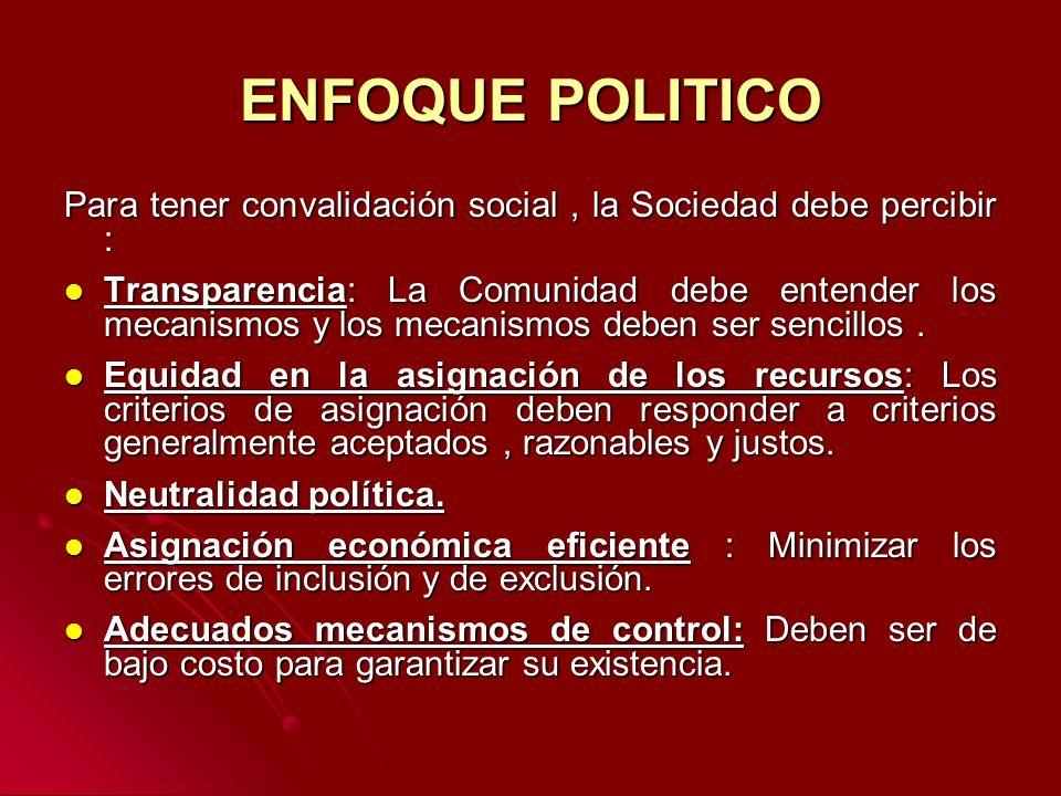 ENFOQUE POLITICO Para tener convalidación social, la Sociedad debe percibir : Transparencia: La Comunidad debe entender los mecanismos y los mecanismo
