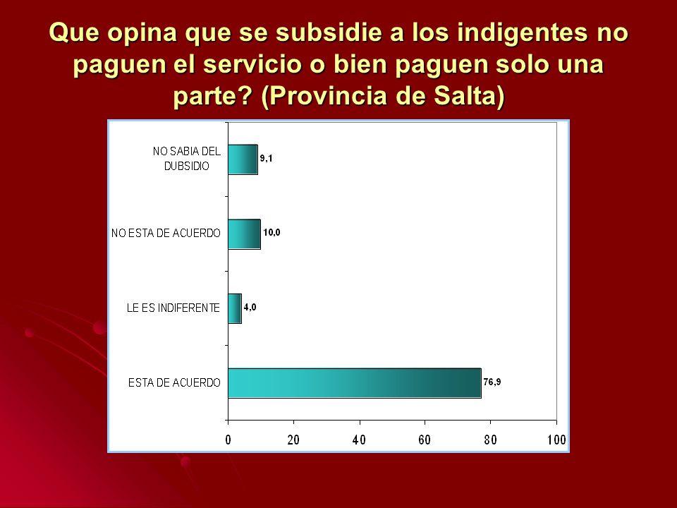 Que opina que se subsidie a los indigentes no paguen el servicio o bien paguen solo una parte? (Provincia de Salta)