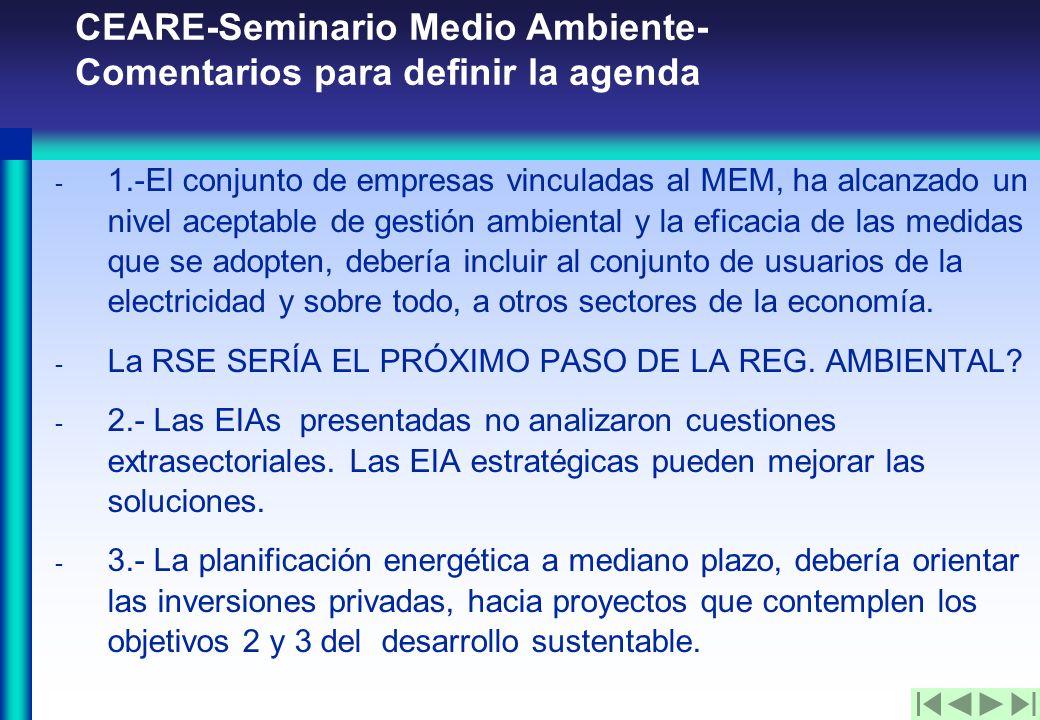 CEARE-Seminario Medio Ambiente- Comentarios para definir la agenda - 1.-El conjunto de empresas vinculadas al MEM, ha alcanzado un nivel aceptable de gestión ambiental y la eficacia de las medidas que se adopten, debería incluir al conjunto de usuarios de la electricidad y sobre todo, a otros sectores de la economía.