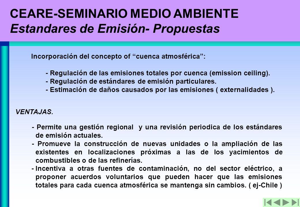 CEARE-SEMINARIO MEDIO AMBIENTE Estandares de Emisión- Propuestas Incorporación del concepto of cuenca atmosférica: - Regulación de las emisiones totales por cuenca (emission ceiling).