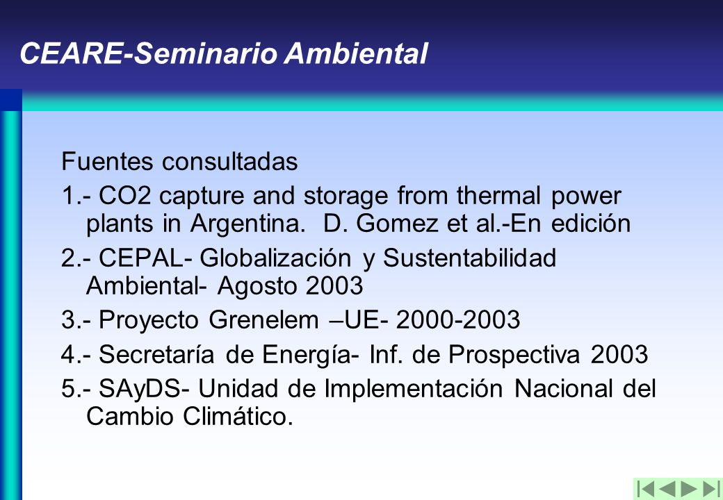 CEARE-Seminario Ambiental Fuentes consultadas 1.- CO2 capture and storage from thermal power plants in Argentina.