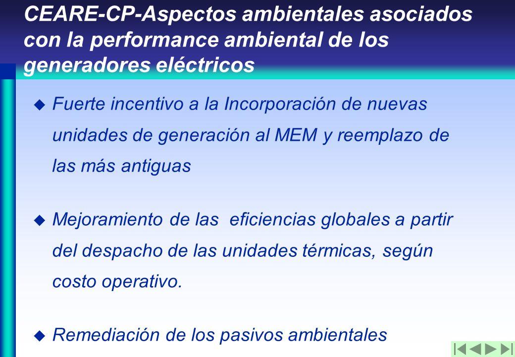 u Fuerte incentivo a la Incorporación de nuevas unidades de generación al MEM y reemplazo de las más antiguas u Mejoramiento de las eficiencias globales a partir del despacho de las unidades térmicas, según costo operativo.