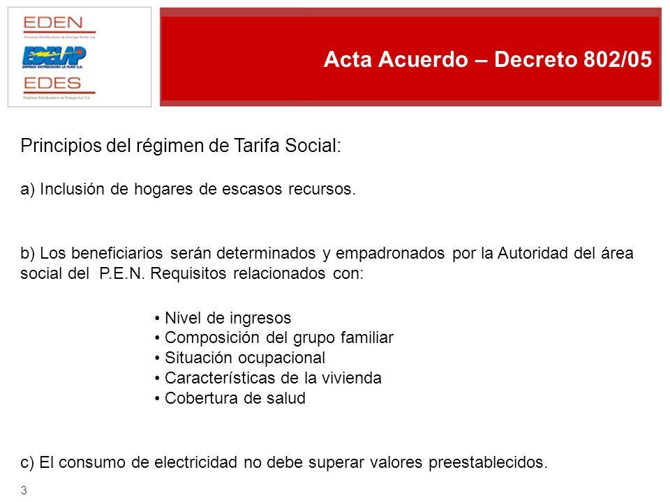 2 Marco Temporal - Presentación ADEERA – 04/2004 - Acta Acuerdo Edelap – Uniren - Decreto 802/05 - Cláusula Quinta - TARIFA SOCIAL