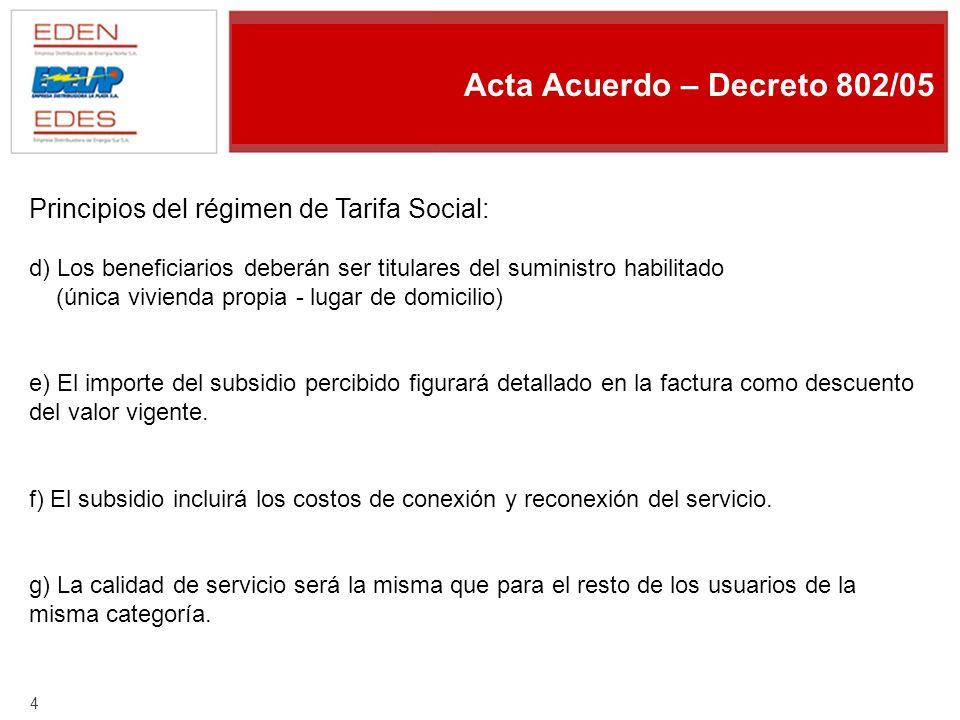 3 Acta Acuerdo – Decreto 802/05 Principios del régimen de Tarifa Social: a) Inclusión de hogares de escasos recursos.