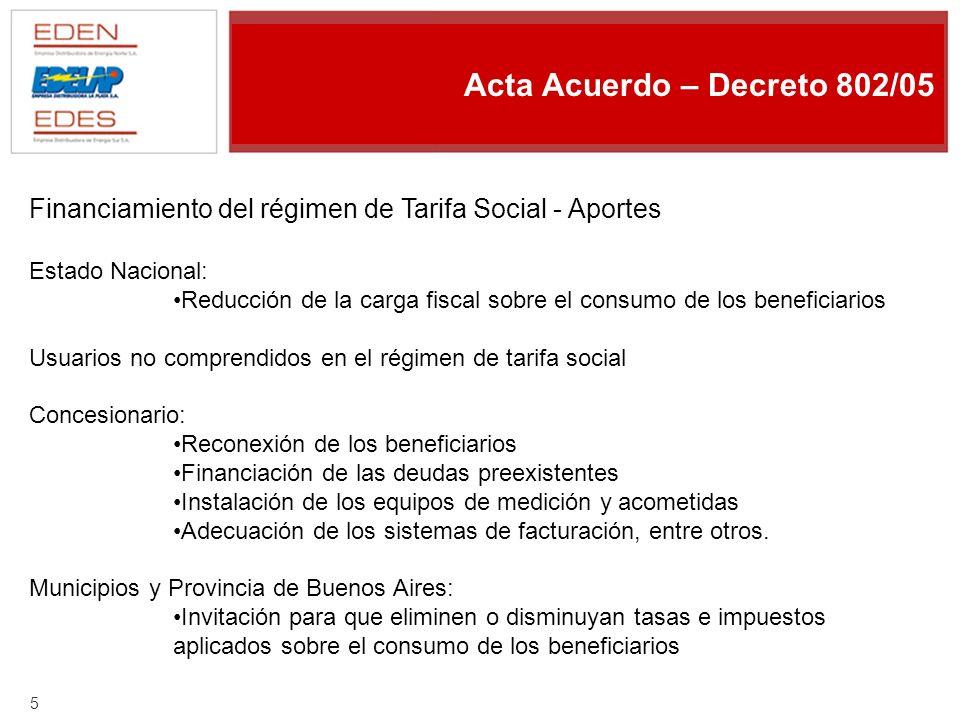 4 Acta Acuerdo – Decreto 802/05 Principios del régimen de Tarifa Social: d) Los beneficiarios deberán ser titulares del suministro habilitado (única vivienda propia - lugar de domicilio) e) El importe del subsidio percibido figurará detallado en la factura como descuento del valor vigente.