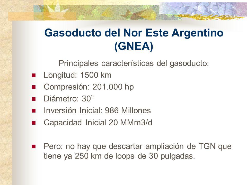 Gasoducto del Nor Este Argentino (GNEA) Principales características del gasoducto: Longitud: 1500 km Compresión: 201.000 hp Diámetro: 30 Inversión Ini