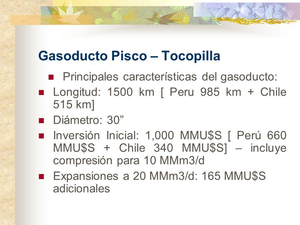 Gasoducto Pisco – Tocopilla Principales características del gasoducto: Longitud: 1500 km [ Peru 985 km + Chile 515 km] Diámetro: 30 Inversión Inicial: