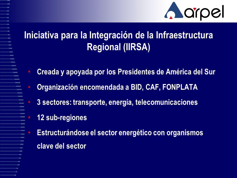 Iniciativa para la Integración de la Infraestructura Regional (IIRSA) Creada y apoyada por los Presidentes de América del Sur Organización encomendada