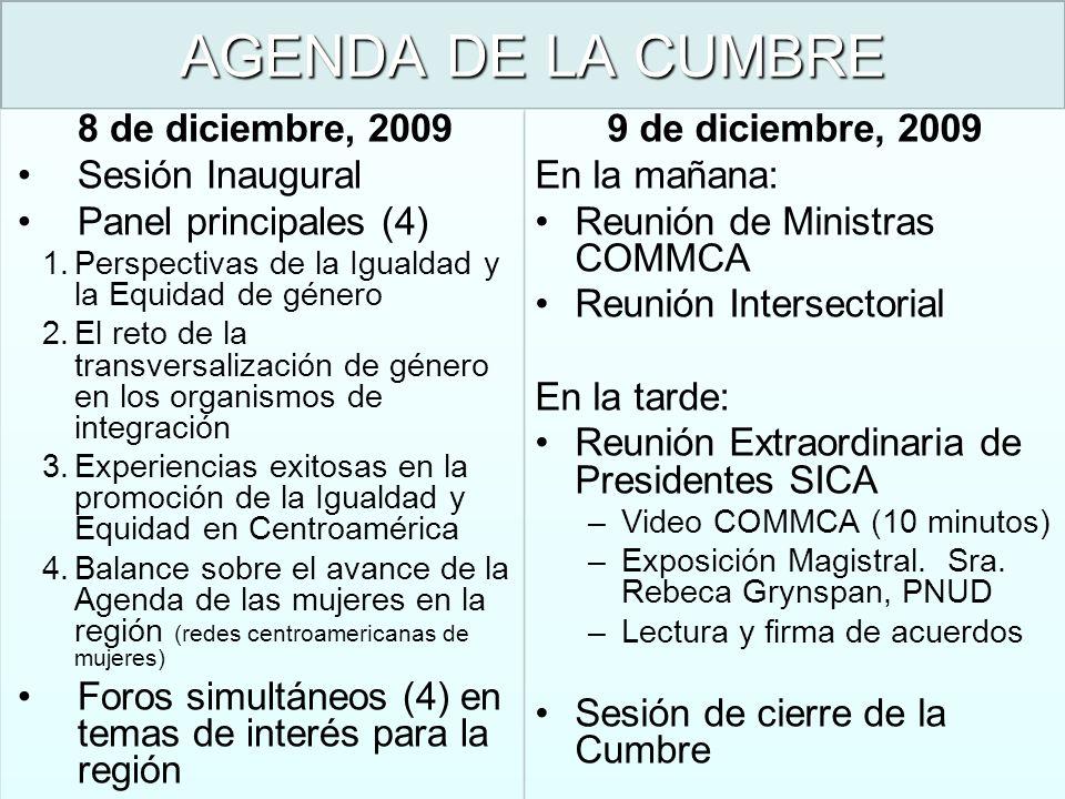 AGENDA DE LA CUMBRE 8 de diciembre, 2009 Sesión Inaugural Panel principales (4) 1.Perspectivas de la Igualdad y la Equidad de género 2.El reto de la t