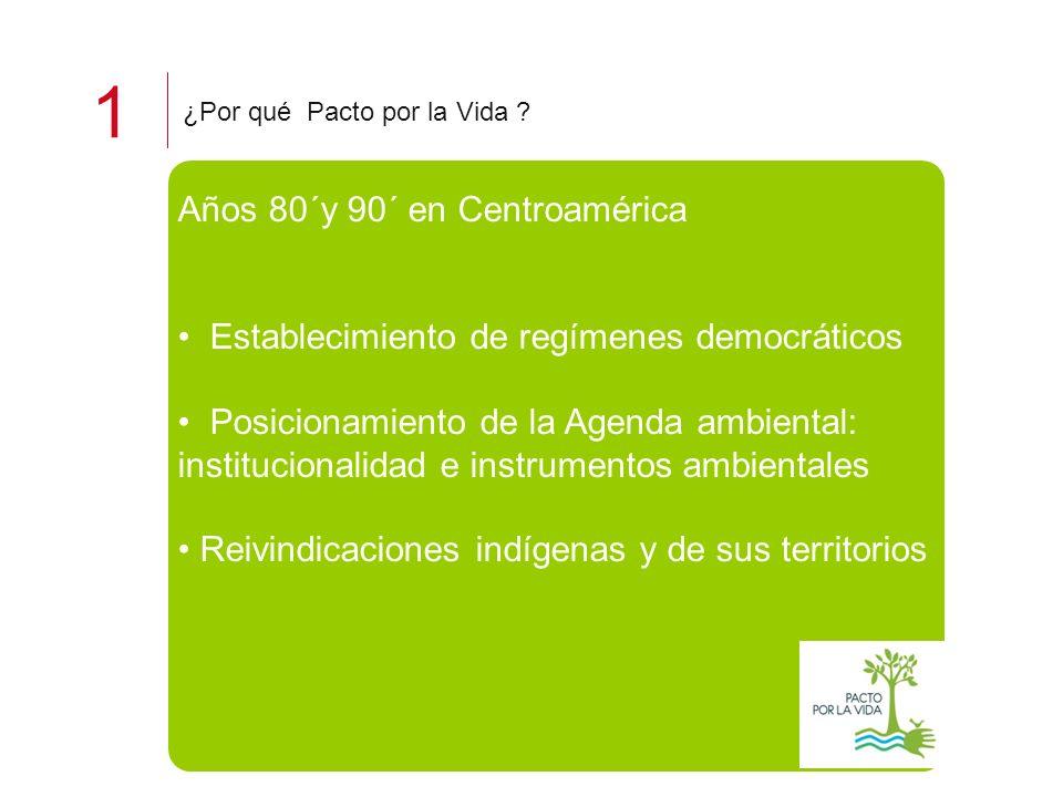 1 ¿Por qué Pacto por la Vida ? Años 80´y 90´ en Centroamérica Establecimiento de regímenes democráticos Posicionamiento de la Agenda ambiental: instit