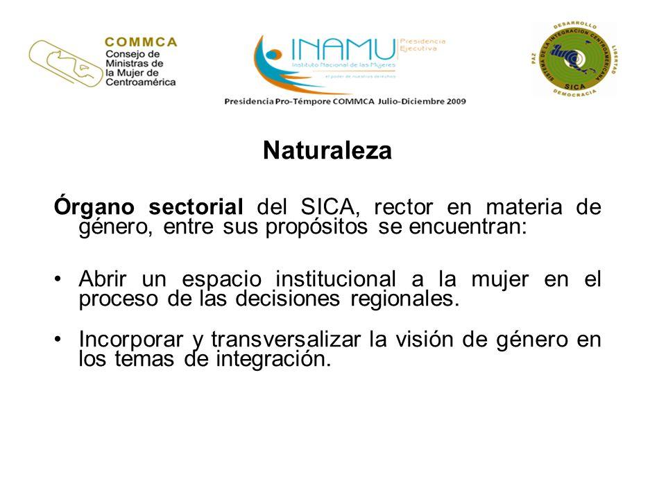 Naturaleza Órgano sectorial del SICA, rector en materia de género, entre sus propósitos se encuentran: Abrir un espacio institucional a la mujer en el