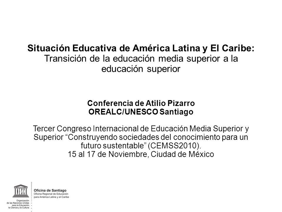 Situación Educativa de América Latina y El Caribe: Transición de la educación media superior a la educación superior Conferencia de Atilio Pizarro ORE