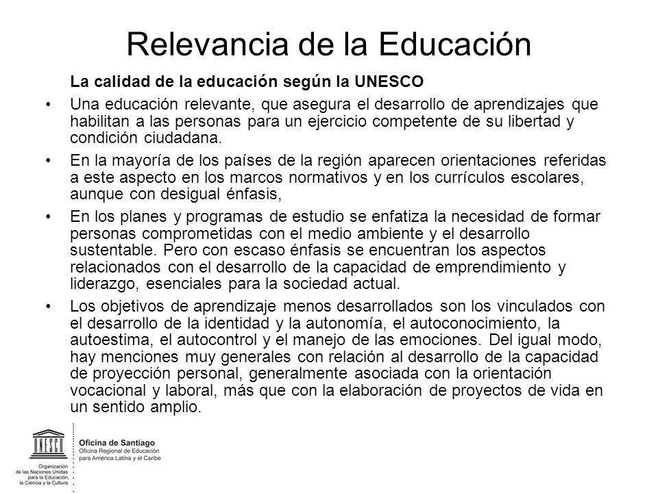 Relevancia de la Educación La calidad de la educación según la UNESCO Una educación relevante, que asegura el desarrollo de aprendizajes que habilitan