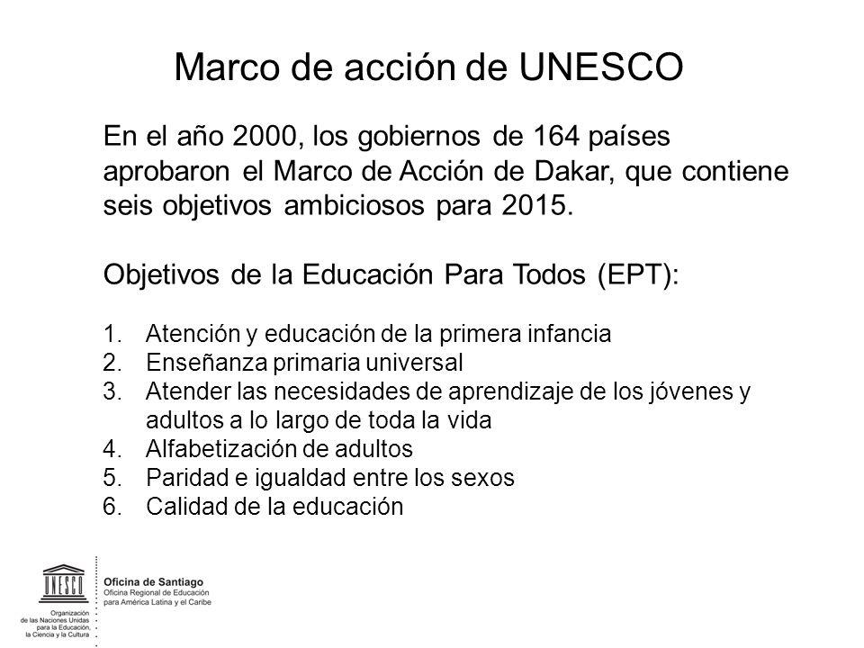 Marco de acción de UNESCO En el año 2000, los gobiernos de 164 países aprobaron el Marco de Acción de Dakar, que contiene seis objetivos ambiciosos pa