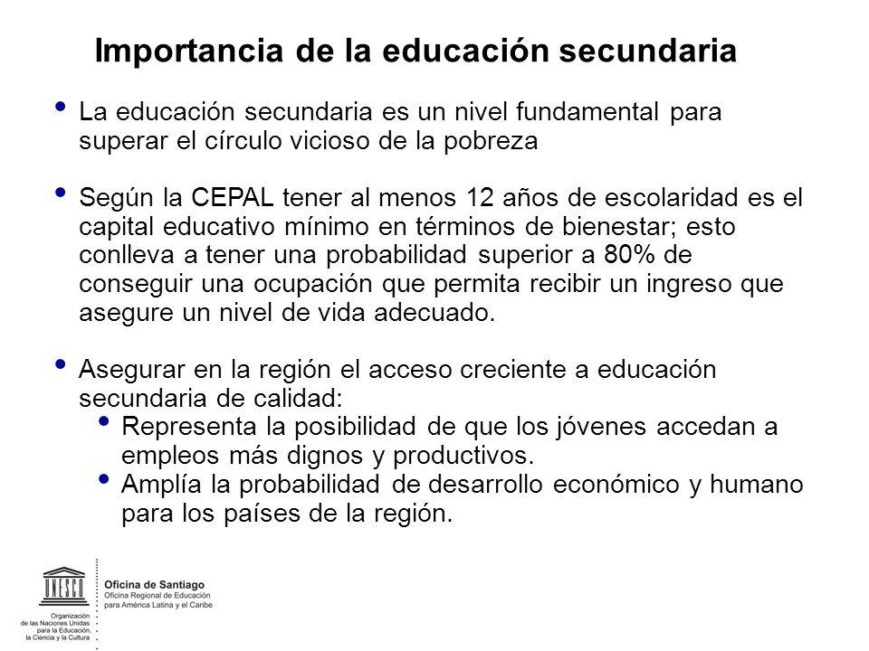 La educación secundaria es un nivel fundamental para superar el círculo vicioso de la pobreza Según la CEPAL tener al menos 12 años de escolaridad es