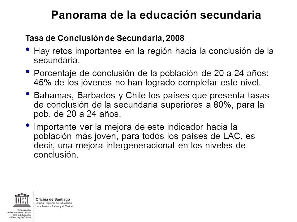 Tasa de Conclusión de Secundaria, 2008 Hay retos importantes en la región hacia la conclusión de la secundaria. Porcentaje de conclusión de la poblaci