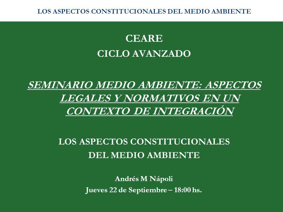 DAÑO AMBIENTAL PRINCIPALES CONTENIDOS DE LA LEY 25.675 RESPONSABILIDAD SOLIDARIA /OBJETIVA AMPLIO ACCESO A LA JUSTICIA LEGITIMACIÓN: Provincias y Municipios AMPLIAS FACULTADES PARA LOS JUECES EFECTOS DE LA SENTENCIA FONDO DE COMPENSACIÓN AMBIENTAL LOS ASPECTOS CONSTITUCIONALES DEL MEDIO AMBIENTE