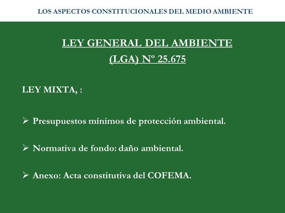 LEY GENERAL DEL AMBIENTE (LGA) Nº 25.675 LEY MIXTA, : Presupuestos mínimos de protección ambiental. Normativa de fondo: daño ambiental. Anexo: Acta co
