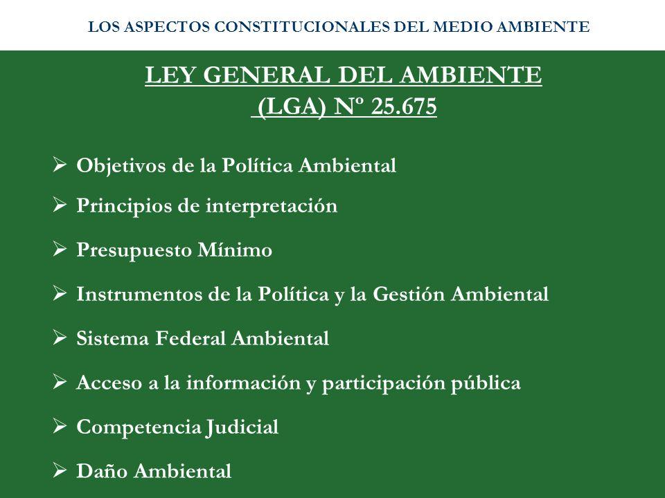 LEY GENERAL DEL AMBIENTE (LGA) Nº 25.675 Objetivos de la Política Ambiental Principios de interpretación Presupuesto Mínimo Instrumentos de la Polític