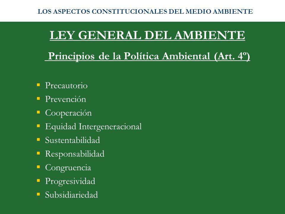 LEY GENERAL DEL AMBIENTE Principios de la Política Ambiental (Art. 4º) Precautorio Prevención Cooperación Equidad Intergeneracional Sustentabilidad Re