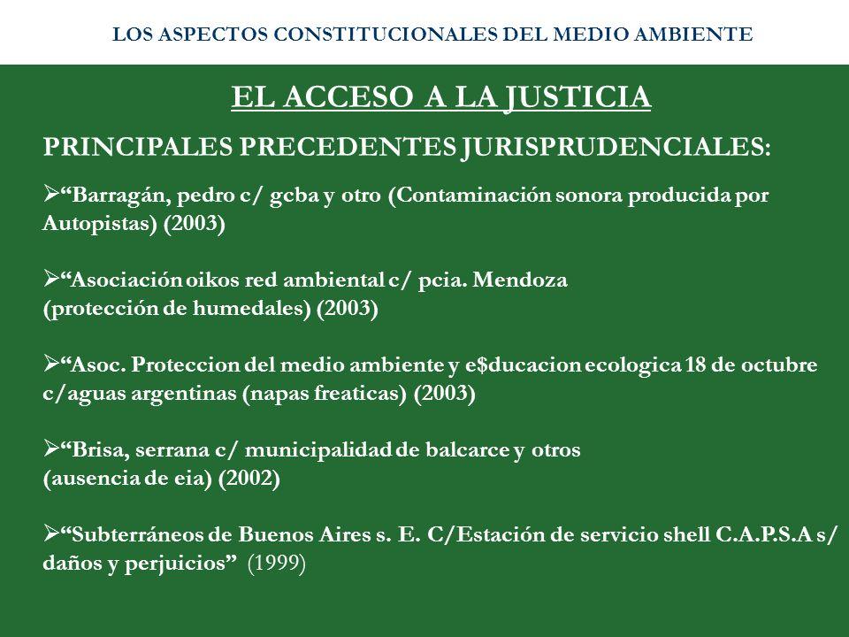 EL ACCESO A LA JUSTICIA PRINCIPALES PRECEDENTES JURISPRUDENCIALES: Barragán, pedro c/ gcba y otro (Contaminación sonora producida por Autopistas) (200