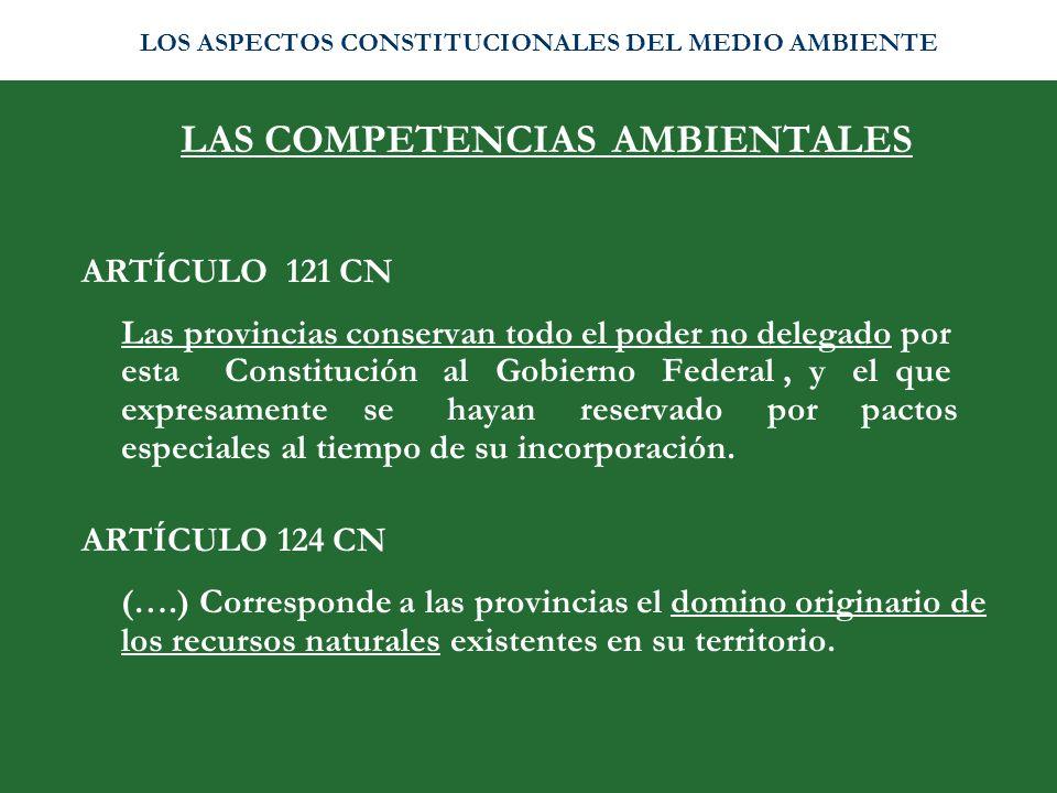 LAS COMPETENCIAS AMBIENTALES ARTÍCULO 121 CN Las provincias conservan todo el poder no delegado por esta Constitución al Gobierno Federal, y el que ex