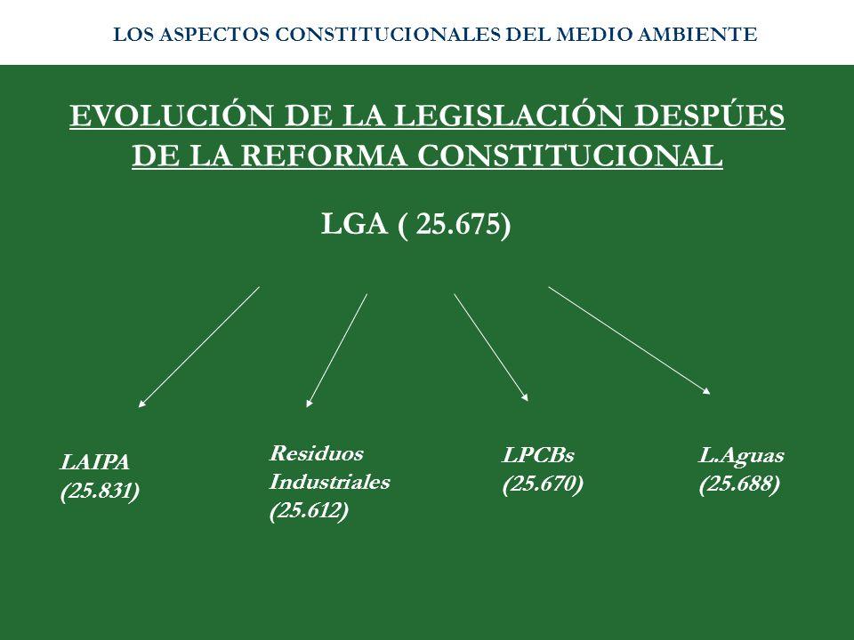 EVOLUCIÓN DE LA LEGISLACIÓN DESPÚES DE LA REFORMA CONSTITUCIONAL LAIPA (25.831) Residuos Industriales (25.612) LPCBs (25.670) L.Aguas (25.688) LGA ( 2
