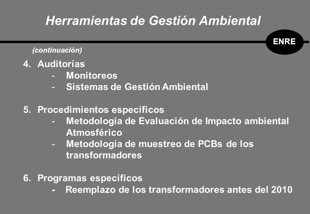 Herramientas de Gestión Ambiental ENRE (continuación) 4.Auditorías -Monitoreos -Sistemas de Gestión Ambiental 5.Procedimientos específicos -Metodología de Evaluación de Impacto ambiental Atmosférico -Metodología de muestreo de PCBs de los transformadores 6.Programas específicos - Reemplazo de los transformadores antes del 2010