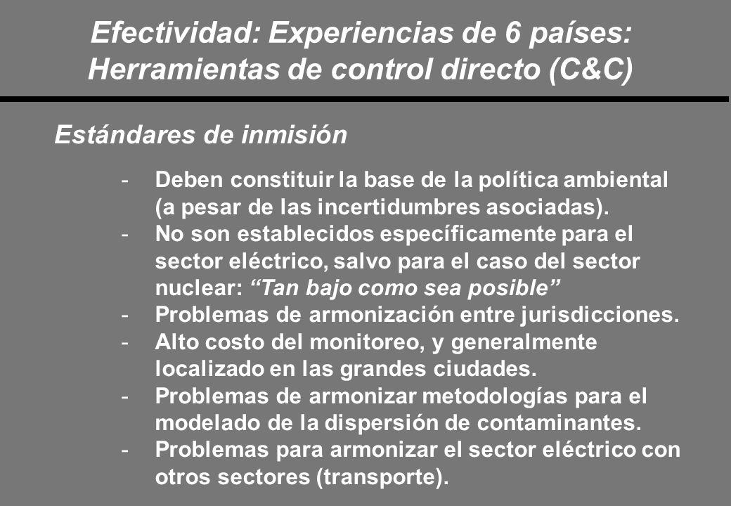 Efectividad: Experiencias de 6 países: Herramientas de control directo (C&C) Estándares de inmisión -Deben constituir la base de la política ambiental (a pesar de las incertidumbres asociadas).