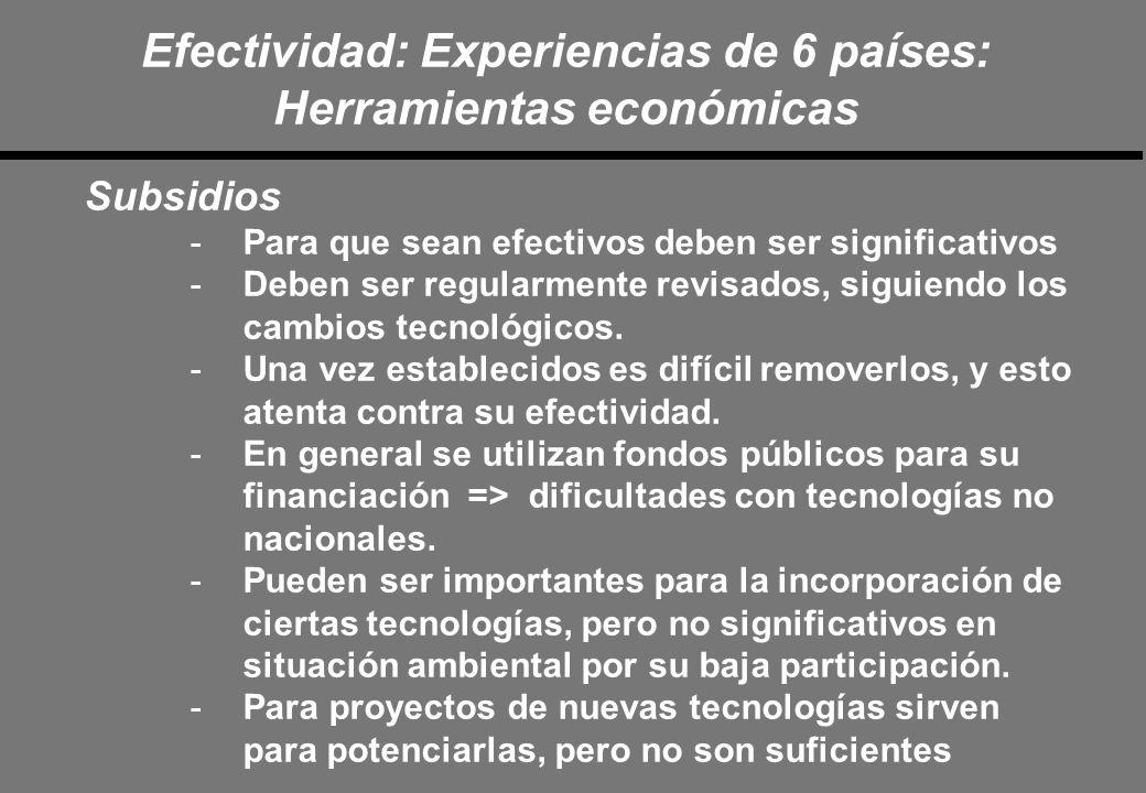Efectividad: Experiencias de 6 países: Herramientas económicas Subsidios -Para que sean efectivos deben ser significativos -Deben ser regularmente revisados, siguiendo los cambios tecnológicos.
