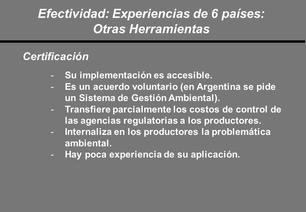 Efectividad: Experiencias de 6 países: Otras Herramientas Certificación -Su implementación es accesible.