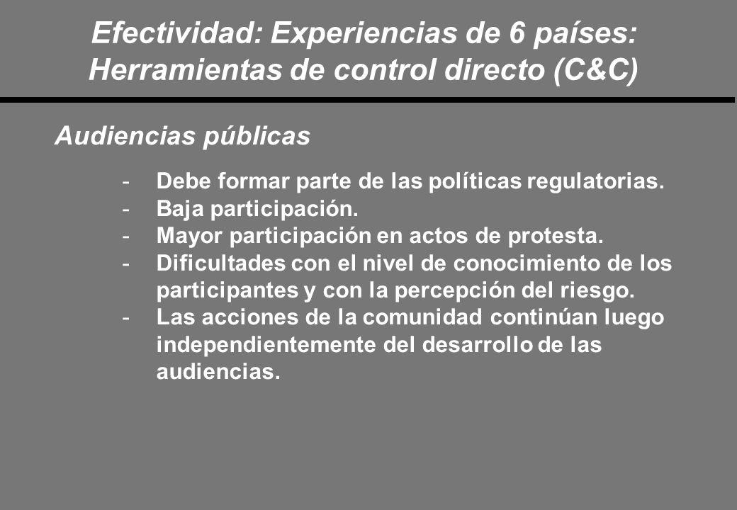 Efectividad: Experiencias de 6 países: Herramientas de control directo (C&C) Audiencias públicas -Debe formar parte de las políticas regulatorias.