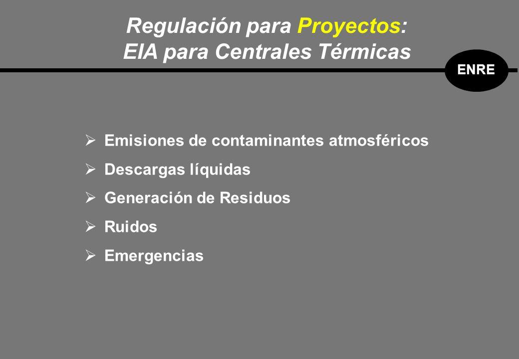 Emisiones de contaminantes atmosféricos Descargas líquidas Generación de Residuos Ruidos Emergencias Regulación para Proyectos: EIA para Centrales Térmicas ENRE