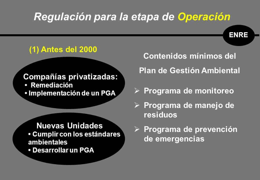(1) Antes del 2000 Compañías privatizadas: Remediación Implementación de un PGA Nuevas Unidades Cumplir con los estándares ambientales Desarrollar un PGA Programa de monitoreo Programa de manejo de residuos Programa de prevención de emergencias Contenidos mínimos del Plan de Gestión Ambiental Regulación para la etapa de Operación ENRE