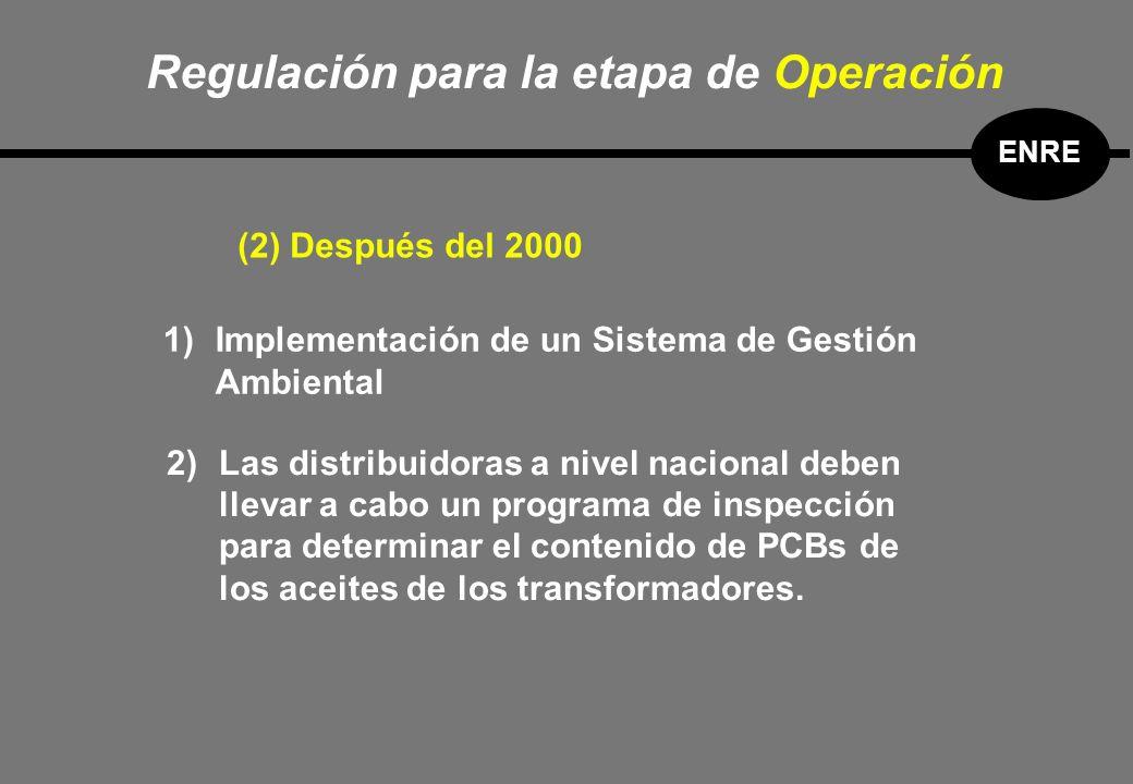 1)Implementación de un Sistema de Gestión Ambiental 2)Las distribuidoras a nivel nacional deben llevar a cabo un programa de inspección para determinar el contenido de PCBs de los aceites de los transformadores.