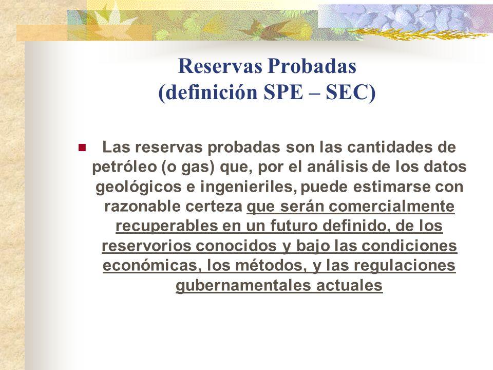 Reservas Probadas (definición SPE – SEC) Las reservas probadas son las cantidades de petróleo (o gas) que, por el análisis de los datos geológicos e i