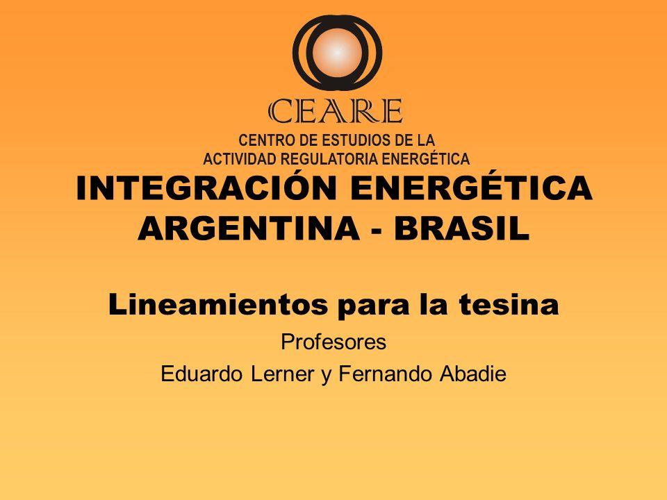 INTEGRACIÓN ENERGÉTICA ARGENTINA - BRASIL Lineamientos para la tesina Profesores Eduardo Lerner y Fernando Abadie