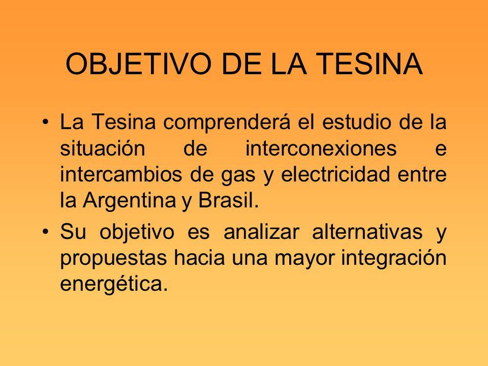 OBJETIVO DE LA TESINA La Tesina comprenderá el estudio de la situación de interconexiones e intercambios de gas y electricidad entre la Argentina y Br