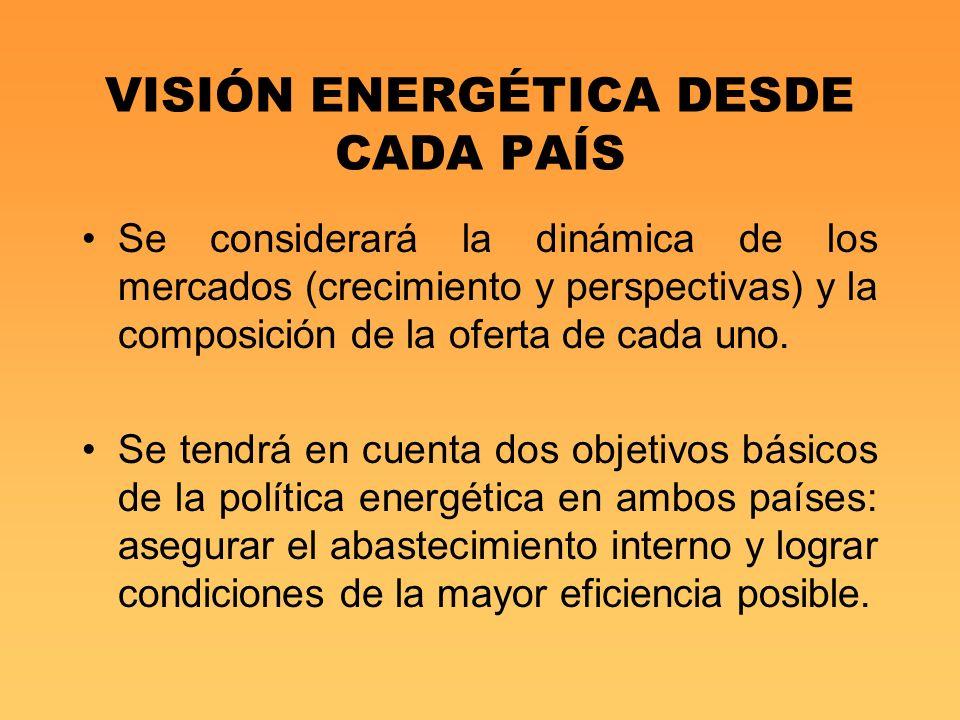 VISIÓN ENERGÉTICA DESDE CADA PAÍS Se considerará la dinámica de los mercados (crecimiento y perspectivas) y la composición de la oferta de cada uno. S