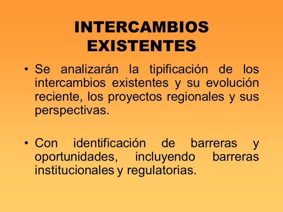INTERCAMBIOS EXISTENTES Se analizarán la tipificación de los intercambios existentes y su evolución reciente, los proyectos regionales y sus perspecti