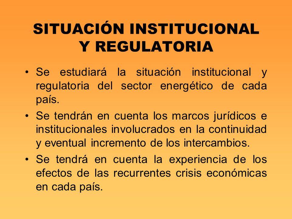 SITUACIÓN INSTITUCIONAL Y REGULATORIA Se estudiará la situación institucional y regulatoria del sector energético de cada país. Se tendrán en cuenta l
