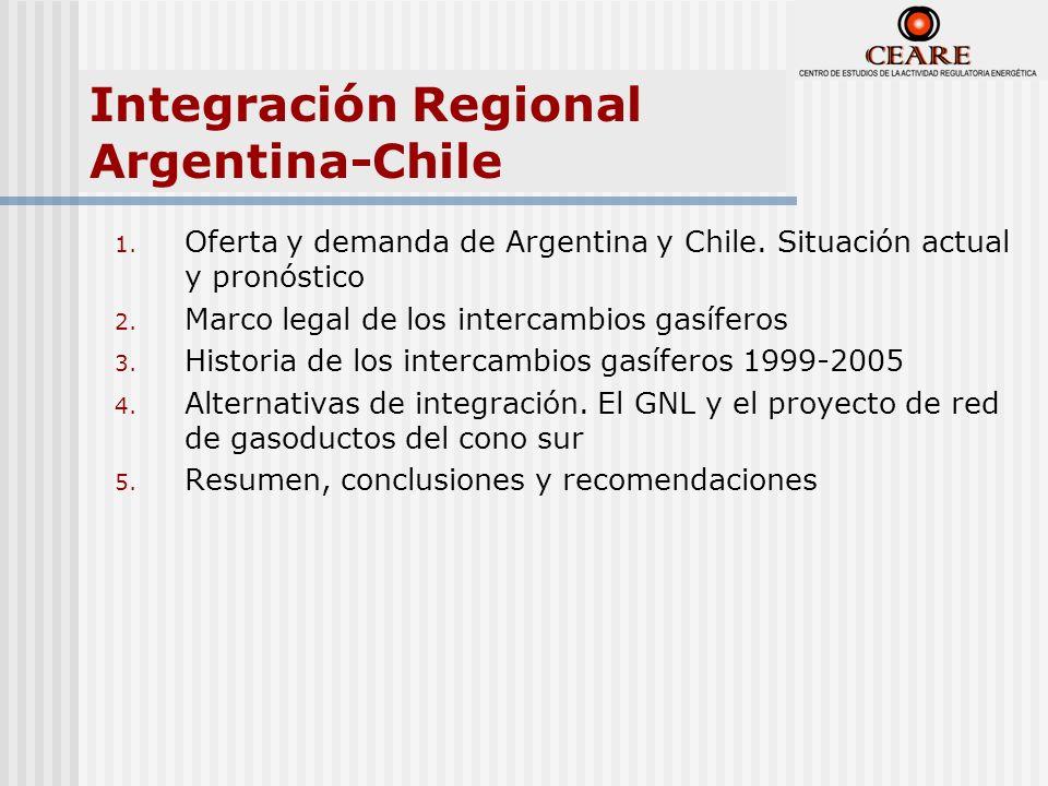 Integración Regional Argentina-Chile 1. Oferta y demanda de Argentina y Chile. Situación actual y pronóstico 2. Marco legal de los intercambios gasífe