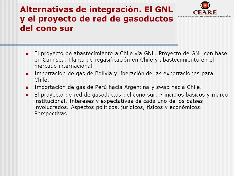 Alternativas de integración. El GNL y el proyecto de red de gasoductos del cono sur El proyecto de abastecimiento a Chile vía GNL. Proyecto de GNL con