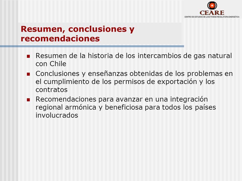 Resumen, conclusiones y recomendaciones Resumen de la historia de los intercambios de gas natural con Chile Conclusiones y enseñanzas obtenidas de los