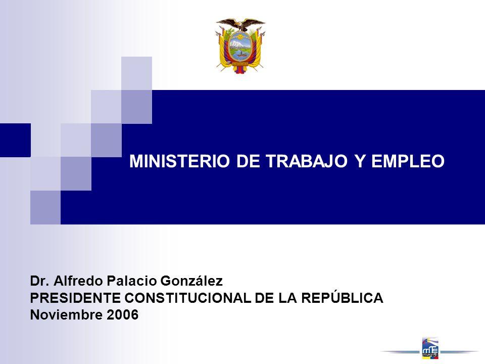 Dr. Alfredo Palacio González PRESIDENTE CONSTITUCIONAL DE LA REPÚBLICA Noviembre 2006 MINISTERIO DE TRABAJO Y EMPLEO
